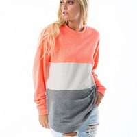 Neon Coral Knit Sweater