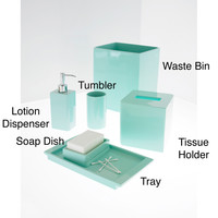Solid Lacquer Light Blue Bath Accessory Collection
