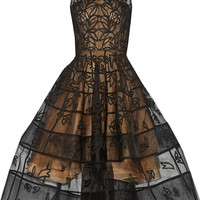 Oscar de la Renta - Appliquéd tulle midi dress