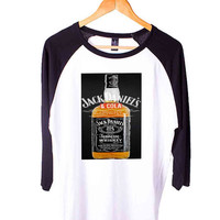 black jack daniels whiskey Short Sleeve Raglan - White Red - White Blue - White Black XS, S, M, L, XL, AND 2XL*AD*