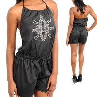 G2 Fashion Square Women's Abstract Printed Drawstring Halter Romper
