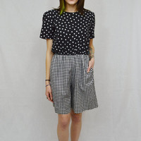 Polka Dot Romper Black White Small Med Pinup Retro Vintage 90s Gingham Checkered High waist Shorts Play Suit Womens Clothing Preppy Hipster