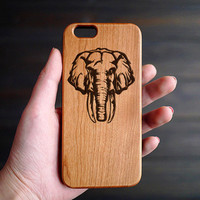 The Elephant Cherry Wood One Piece iPhone 6 6s Case , Custom iPhone 6 6s Case Wood , Personalized Wood iPhone 6 6s Case Wood , Valentine