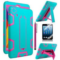 ULAK Shock Absorbing Hybrid Silicone Case for Apple iPad Mini 3 2 1 (7.9 inch) - Rose Red/Aquamarine Blue