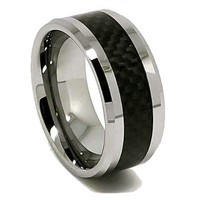 10mm Tungsten Black Carbon Fiber Mens Wedding Rings Fashion Band Size (12.5)