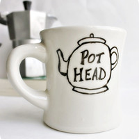 Funny Mug tea mug tea cup diner mug black white hand painted pot head