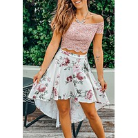 Mauve And Ivory High Low Dress With Cutout