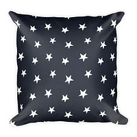 Colonial Stars Navy Blue Square Throw Pillow
