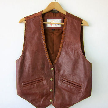 80s brown leather vest vintage Cowgirl vest Rancher Rugged 1980s western Sleeveless jacket Snaps Biker Hipster top womens Size Small Medium