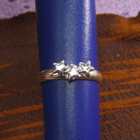 A tiny silver plated star mult-task ring, above knuckle ring,adjustable finger ring,stackable ring, toe ring, little finger ring