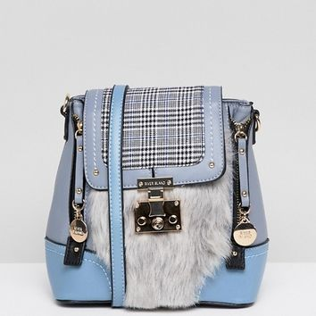 River Island mini backpack with faux fur and check design at asos.com