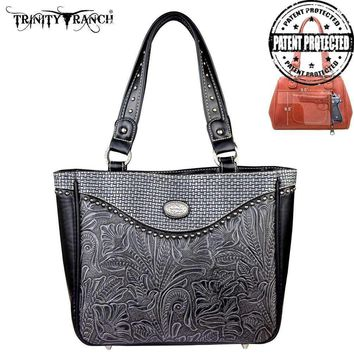 Montana West TR26G-L8317 Trinity Ranch Tooled Concealed Carry Handbag