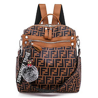 Fendi Fashionable Casual Leather Sport Laptop Bag Shoulder School Bag Backpack