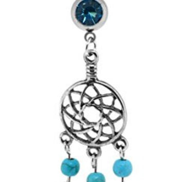 Dream Catcher Anchor Dangle Belly Button Ring Body Jewelry for Navel Piercings (Dream Catcher 2)