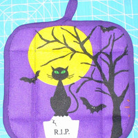 Purple Halloween Cat Pot Holder