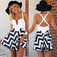 Spring Plus Size   White Dress High Waist Backless  Clothing