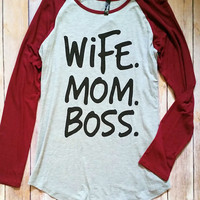 Wife Mom Boss Longsleeve Graphic T-Shirt