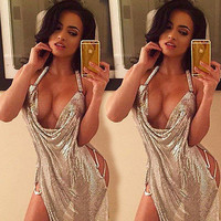 Gogoboi Lady beautiful cheap dress summer slip sexy dress Woman flapper gold vintage great gatsby sequin party dress