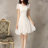 Lace Chiffon Cuff Sleeve A-Line Pleated Mini Dress
