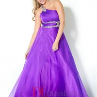 A-Line One Shoulder Chiffon Regency Plus Size Prom Dress/Evening Gowns With Beading VTBU0244429
