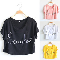 Women Summer Style Crop Top Casual Loose Short Sleeve Letter Print T-shirt