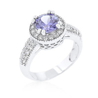 Lavender Halo Engagement Ring, size : 05