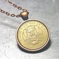 Upcycled Jewelry 1994 Chuck E Cheese Token COPPER PENDANT
