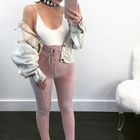 Lace-Up Faux Suede Pants