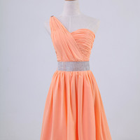 One-shoulder sleeveless knee-length chiffon sashes beading pleated long prom/Evening/Party/Homecoming/cocktail /Bridesmaid/Formal Dress