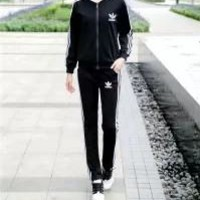 Adidas Zip Solid Color Long Sleeve  Cotton Sweater Stripe Print Fashion Couple Casual Autumn Two-piece Suit