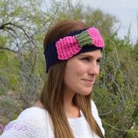 Hand knit bow ear warmer headband, Bow headband, knitted bow earwarmers, winter wrap, slip on, navy, pink, olive