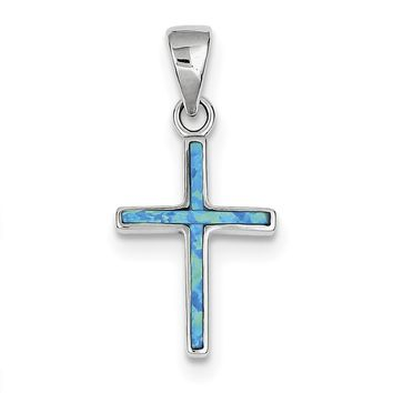 Sterling Silver Blue Inlay Created Opal Thin Cross Pendant QC7267