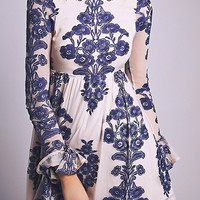 Blue Floral Embroidery Flare Sleeve A-line Dress