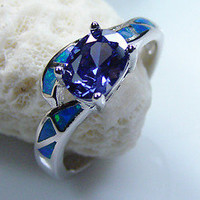 Blue Fire Opal Inlay & Oval Tanzanite Ring .925 Sterling Silver size 7