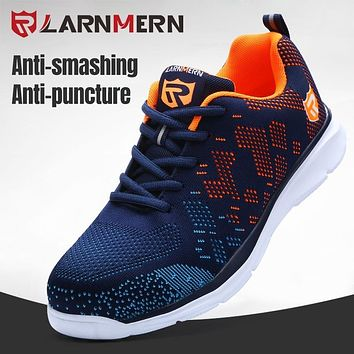 LARNMERN Mens Safety Shoes Steel Toe Work Boots For Men Anti-smashing Puncture Proof Construction Reflcetive Fashion Sneaker