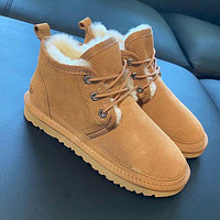 UGG hot-selling snow lace-up Martin boots fashion simple hand-sewn non-slip high-top boots fashion men and women Shoes Brown