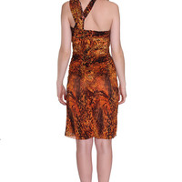 Only one, Unique, Two-Way, Amber Animal Vintage Jungle Orange Print, Knit Jersey Dress
