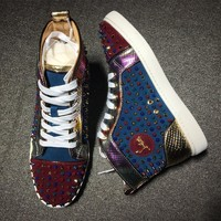 Christian Louboutin CL Louis Spikes Style #1898 Sneakers Fashion Shoes Online