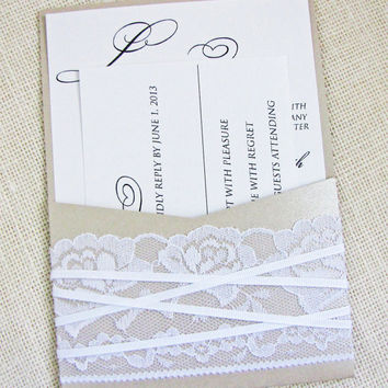 Shimmer Lace Ribbon Shabby Chic Vintage Pocket Wedding invitation