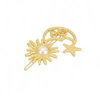Moon Star Sun Hair Clip in Gold with Pearl