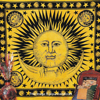 Celestial Sun Moon Stars Boho Hippie Hippy Tapestry, Dorm Bedding Wall Hanging, Indian Tapestry, Throw Wall Hanging, Etchnic Decor Art