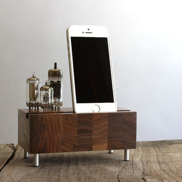 Universal charging station for iPhone Samsung Galaxy handcrafted butcher block from walnut wood with triple electron tubes