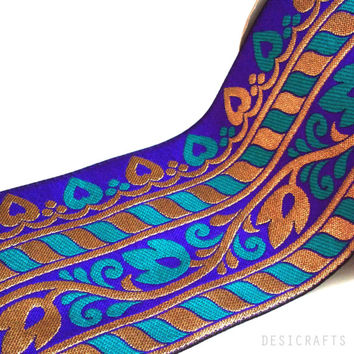 Brocade Silk Border - Extra wide Indian Silk Trim / Lace / Ribbon - Turquoise - Royal Blue - Gold