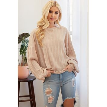 Ribbed Drop Shoulder Long Sleeve Top - Taupe