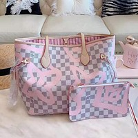 LV Louis Vuitton High Quality Women Shopping Leather Tote Handbag Shoulder Bag Purse Wallet Set Two-Piece