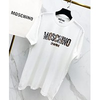 Moschino Fashion New Leopard Print Women Men Top T-Shirt White