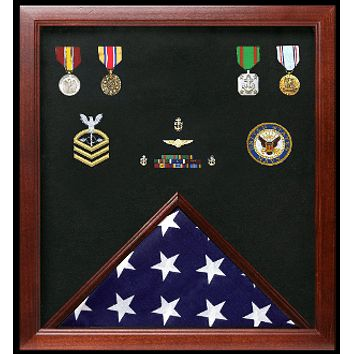 Military Flag and Medal Display Case Shadow Box, Medal display case