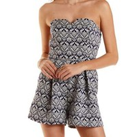 Navy Combo Strapless Jacquard Romper by Charlotte Russe