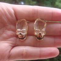 Gold stone skull stud earring  from Perfect Poppy