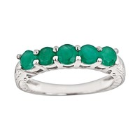Sterling Silver Emerald Five-Stone Ring (Green)